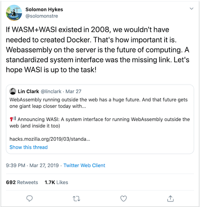 Tweet about WASI from Docker founder